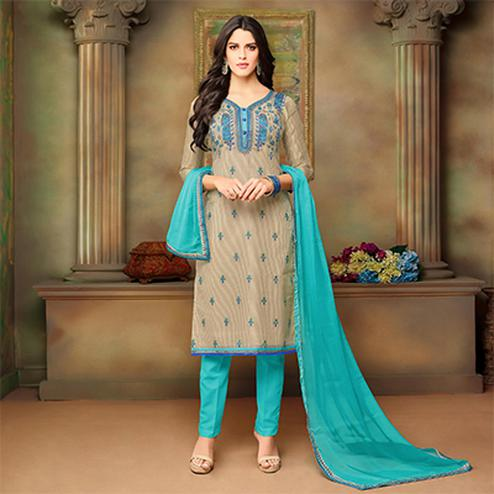 Stunning Beige-Blue Designer Embroidered Modal Art Silk Dress Material