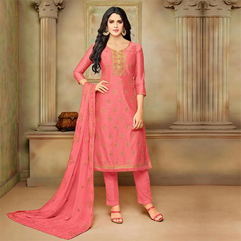 Beautiful Pink Designer Embroidered Modal Art Silk Dress Material