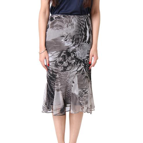 TSM - Black & White Colored Casual Abstract Georgette Midi Skirt