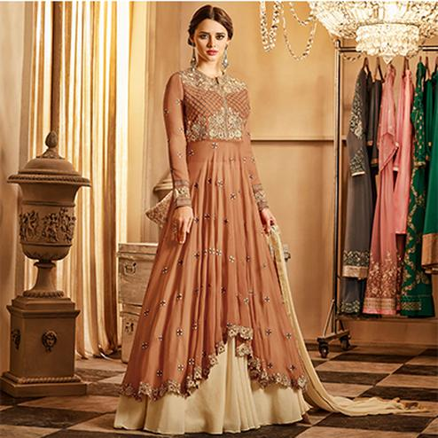 Skinny Brown-Beige Colored Designer Lehenga Kameez