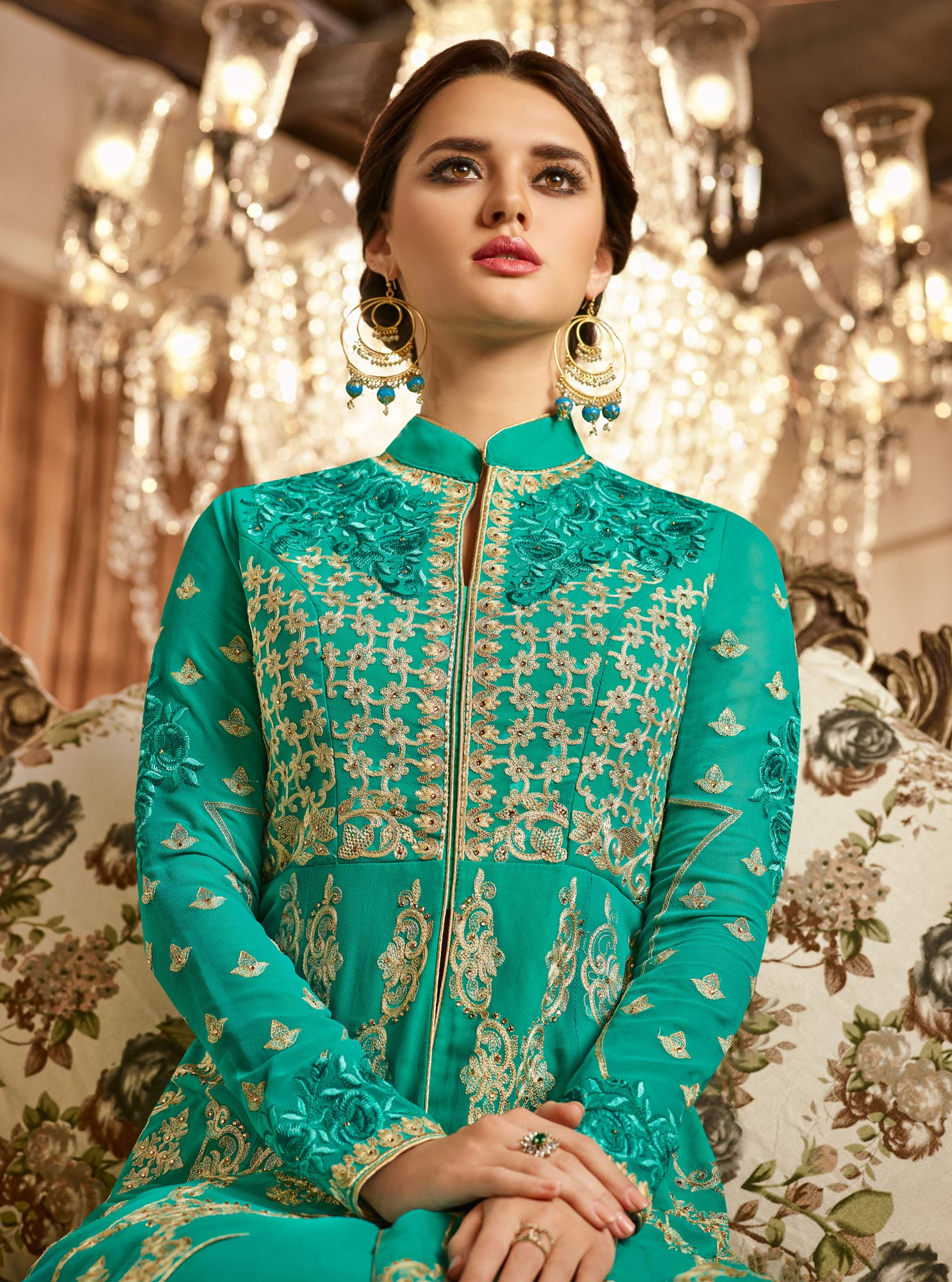 Dazzling Teal Colored Designer Lehenga Kameez