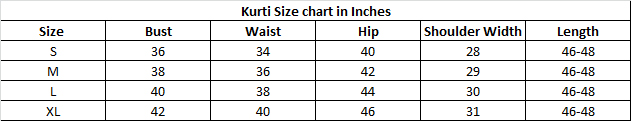 Size chart for - Multi Color American Crepe Stitched Kurti