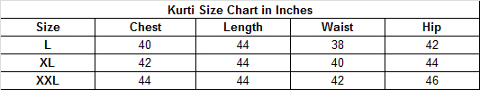 Size chart for - Glowing Orange Colored Casual Printed Rayon-Cotton Kurti