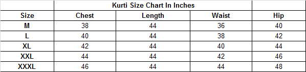 Size chart for - Dark Green-Pink Colored Casual Printed Viscose Slub Kurti
