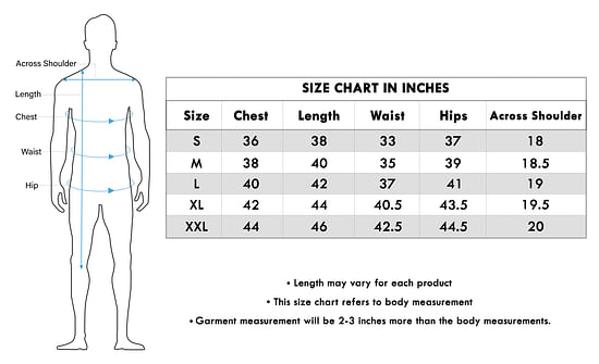 Size chart for - Exotic Orange Colored Festive Wear Cotton Kurta