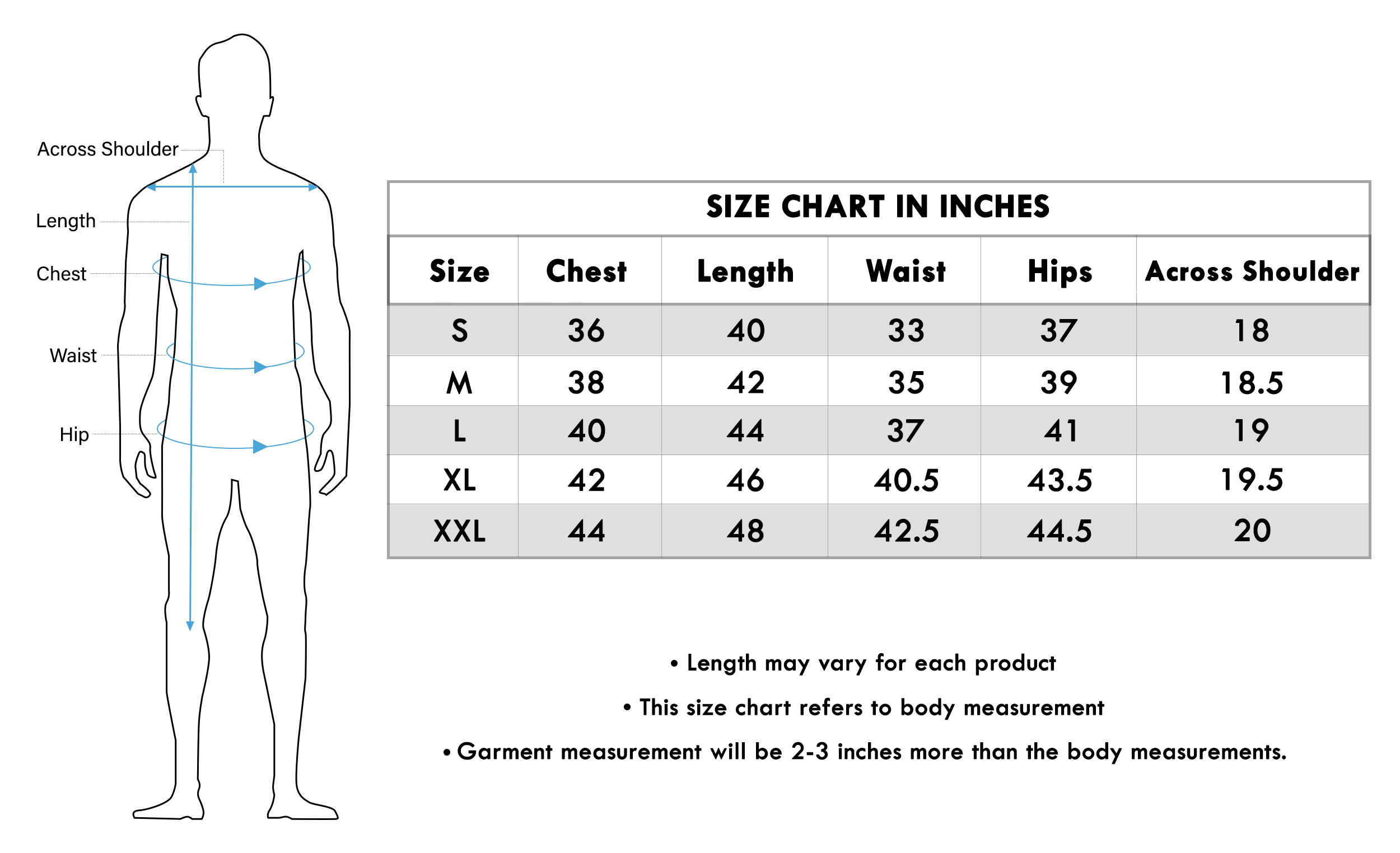 Size chart for - Blooming Royal Blue Colored Festive Wear Cotton Kurta