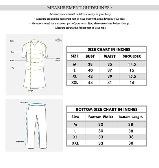Size chart for - Imposing Aqua Blue Colored Casual Printed Rayon Palazzo Suit