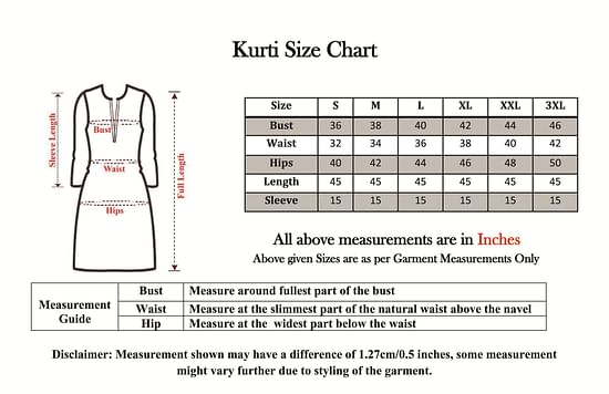 Size chart for - Groovy Black Colored Casual Wear Digital Printed Calf-Length Straight Crepe Kurti