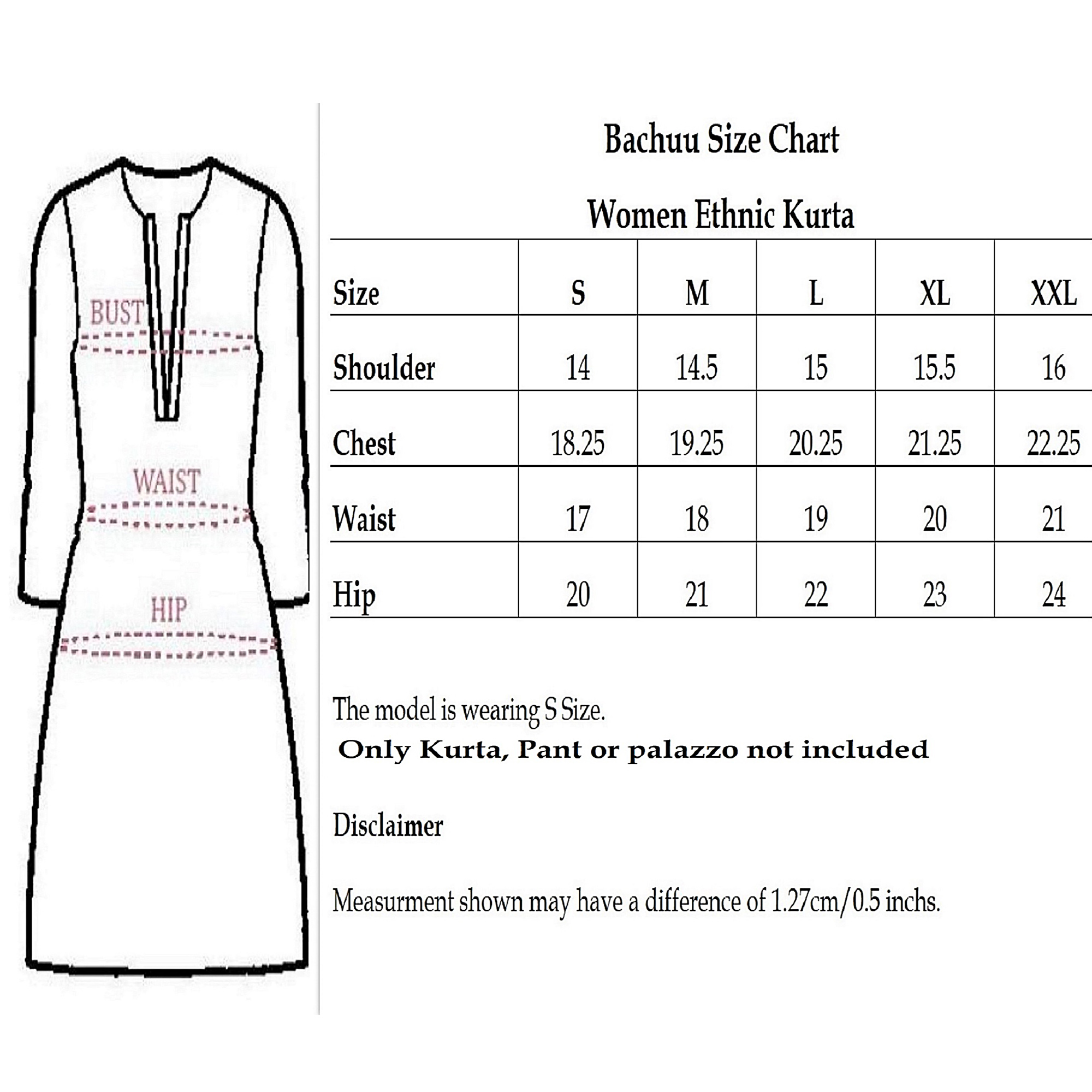 Size chart for - Pooja Fashion - Black Colored Casual Wear Printed Ankle Length Rayon Kurti