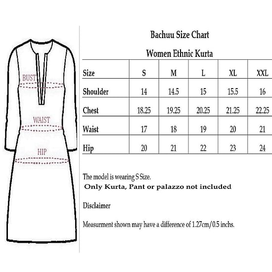 Size chart for - Pooja Fashion - Blue Colored Casual Printed Cotton Kurti